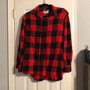 Red and black plaid button down/flannel